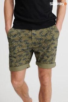 Superdry Chino-Shorts mit Muster, olivgrün