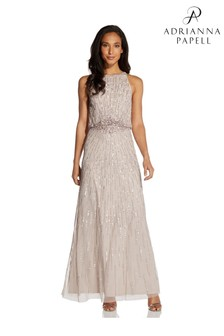Adrianna Papell Natural Beaded Blouson Gown