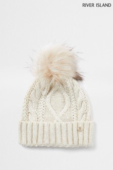 River Island Beige Cable Knit Bongo Beanie Hat