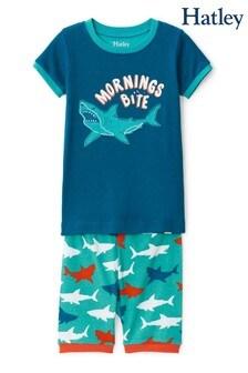 Синий хлопковый пижамный комплект с шортами и изображением белых акул Hatley
