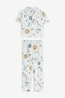 Pyjama aus Webstoff mit durchgehender Knopfleiste (9Monate bis 16Jahre)