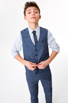 Windowpane Check Waistcoat, Shirt And Tie Set (12mths-16yrs)