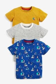 3 Pack Boat Printed T-Shirts (3 mes. – 7 rok.)
