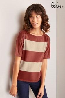 חולצת טי סרוגהדגם Berkeley בצבעורודשל Boden