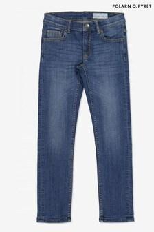Polarn O. Pyret藍色有機棉窄版合身牛仔褲
