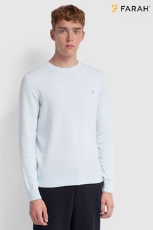 Farah Mullen Cotton Crew Neck Jumper With Embroidered Chest Placement Logo