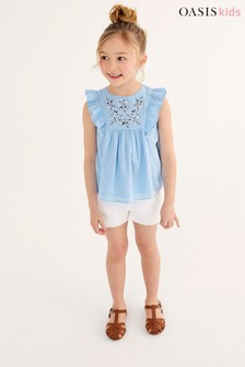 Oasis Embroidered Ruffle Top