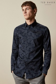 Ted Baker Blue Getout Long Sleeve Cat Printed Shirt