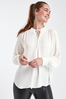 חולצת פייזלי ג׳אקארד עם קשירה בצוואר
