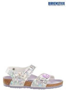 Srebrne holograficzne sandały z rzepami Birkenstock® Colorado