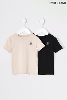 River Island Stone Light 2 Pack T-Shirts
