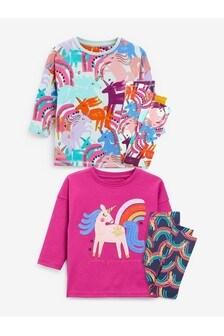 2 Pack Unicorn Appliqué Pyjamas (9mths-8yrs)