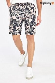 Superdry Chino-Shorts mit Palmenmotiv, rosa