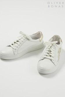 Pantofi sport Oliver Bonas albi din piele cu model fulger