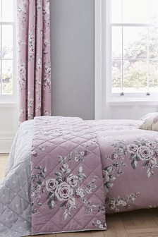 Catherine Lansfield Lilac Reversible Canterbury Floral Quilted Bedspread