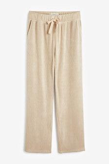 Pantaloni largi texturați din jerseu