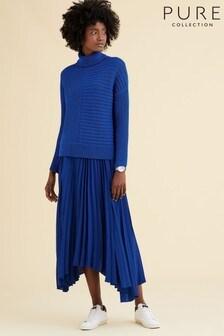 Синяя плиссированная юбка асимметричной длины Pure Collection
