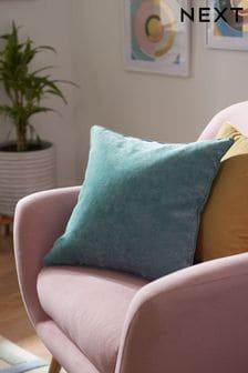 Сине-зеленая прямоугольная велюровая подушка