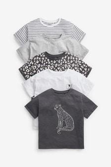 5 Pack Leopard Short Sleeve T-shirts (3-16yrs) (840631) | $33 - $41