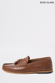 River Island Mid Brown Tadley Embossed Tassel Loafers