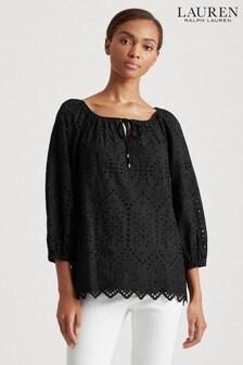 Lauren Ralph Lauren® Frynna Bluse mit Lochstickerei, schwarz