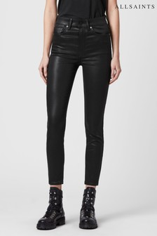 AllSaints Black Coated Dax High Waisted Jeans