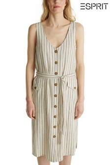 Esprit Cream Summer Belted Dress