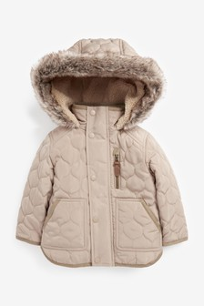 Quilted Coat With Faux Fur Trim (3mths-7yrs)