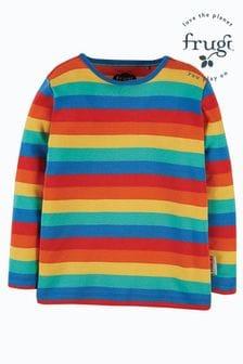 Czerwona bluzka tęczowa z długim rękawem Frugi z organicznej bawełny