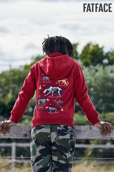 FatFace Red Zip Through Graphic Hoody