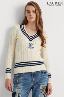 סוודר של Lauren Ralph Lauren דגם Meren Cricket בקרם