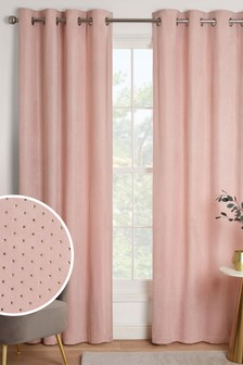 Pink Foil Spot Eyelet Curtains