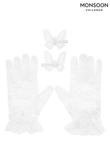 Monsoon乳白色烏干紗蝴蝶蕾絲手套及髮夾套裝