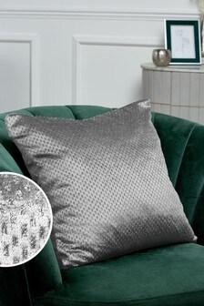 Silver Glitter Spot Cushion