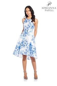 Adrianna Papell Toile-Kleid mit asymmetrischem Saum und Blumenmuster, blau