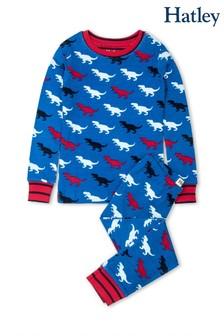 Синяя пижама из органического хлопка с рисунком динозавров Hatley