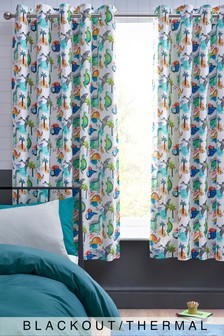 Dinosaur Splash Eyelet Blackout Curtains