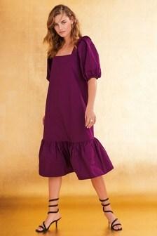 Платье из тафты с квадратным вырезом