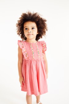 Хлопковое платье со сборками и вышивкой (3 мес.-7 лет)