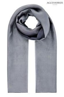Accessorize灰色奢華絲質漸層披肩