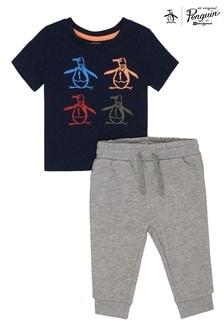 Niebieski kompletOriginal Penguin® Pete & Friends: koszulka i spodnie dresowe