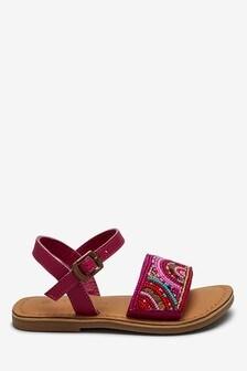 Кожаные сандалии с бисером (Младшего возраста)