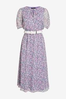 שמלה עם קשירה בצוואר וחגורה עם שרוולים קצרים
