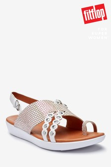 FitFlop™ White Scallop Exotic Leather Back Strap Sandals