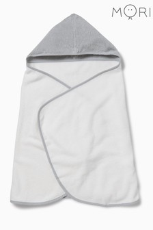 MORI White Hooded Toddler Bath Towel