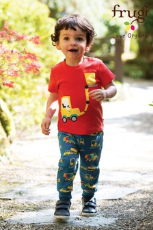 Frugi GOTS Organic Warm Kneepatch Joggers In Navy With Truck Print