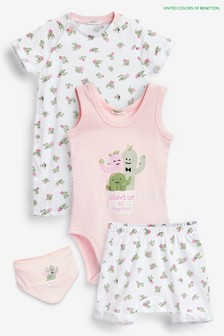 Benetton Baby Set mit Charakter-Motiv, Pink