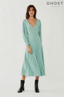 שמלה מבד קרפ עם הדפס של Ghost דגם Clea Daisy