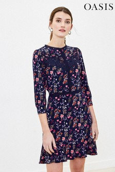 Oasis Tall Blue Floral Lace Dress