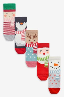 5 Pack Christmas Character Ankle Socks